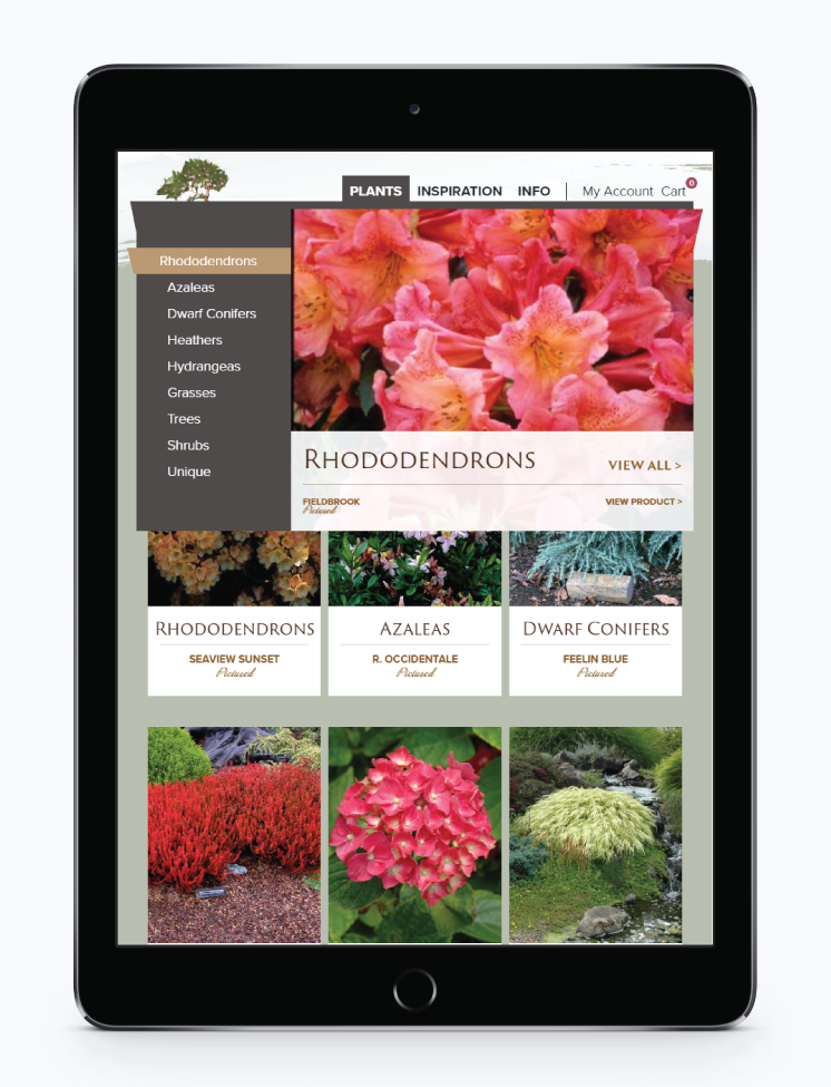 Image Displaying Screening Tree Garden's rich menu on an ipad