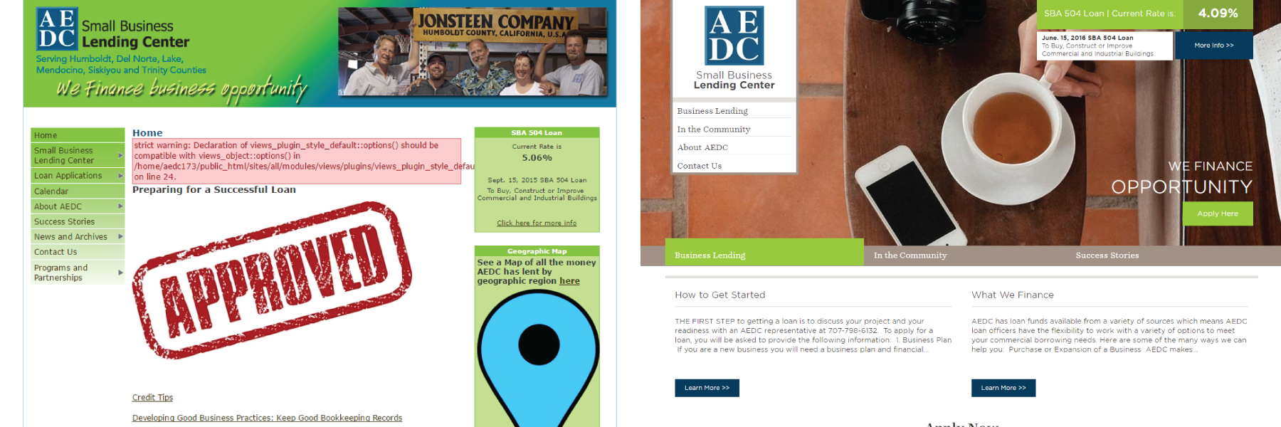 Before and After screenshot of AEDC's website homepage